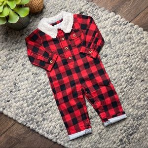 Mud Pie boys red buffalo check one piece jumpsuit